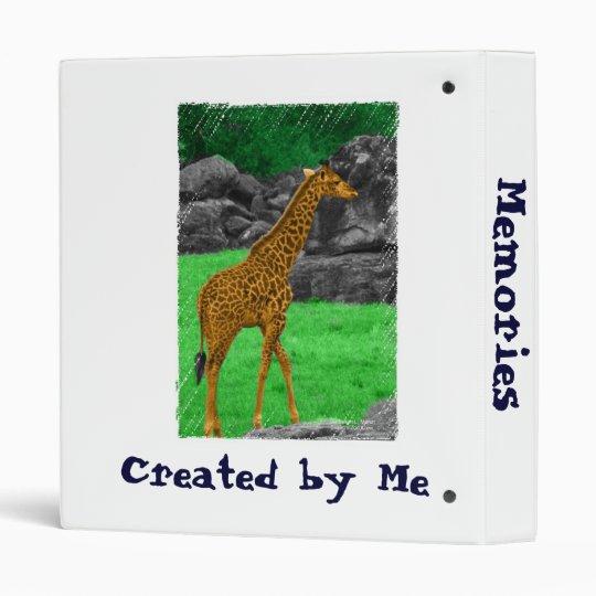 Giraffe photo colorized orange and green 3 ring binder