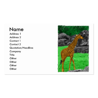 Giraffe photo colorized orange and green business card