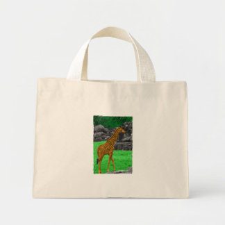 Giraffe photo colorized orange and green mini tote bag