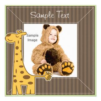 Giraffe Photo Frame Personalized Invitations