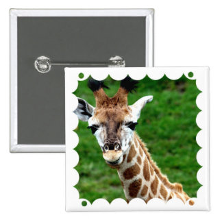 Giraffe Photo Square Pin