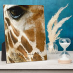 "Giraffe Photo Wild Animals | Inspirational Quotes Plaque<br><div class=""desc"">Wild animal giraffe photo easel for animal lovers- Wildlife photography- Close up photo of cute giraffe face and eyes showcases the soulful eyes and trendy genuine fur giraffe pattern. Reads STAND TALL AND REACH FOR THE SKY at the bottom in black, modern letters. Unique gift for giraffe lovers, zoologists, veterinarians,...</div>"