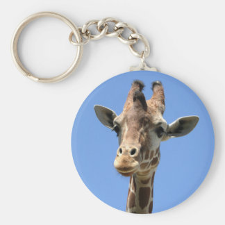 Giraffe Photo with Blue Sky Button Keychain