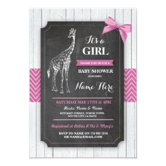 Giraffe Pink Baby Shower Party Girls Wood Invite