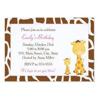 Giraffe Pink Brown Birthday Invitation