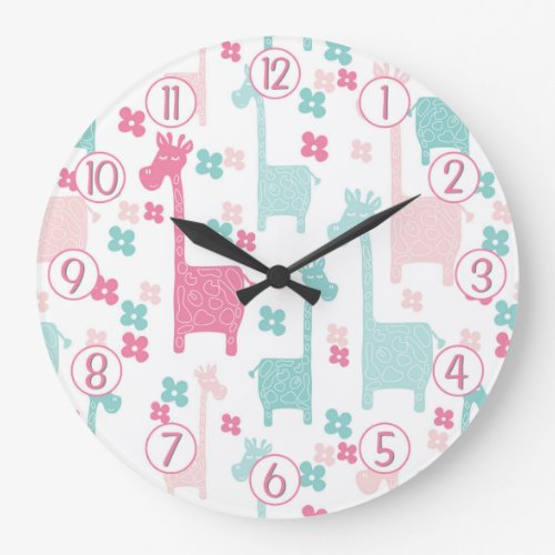 Giraffe Pink Mint Aqua Teal Wall Clock