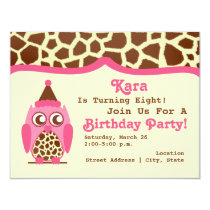Giraffe & Pink Owl Birthday Party Invite