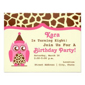 Giraffe & Pink Owl Birthday Party Invite