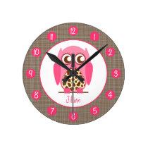 Giraffe & Pink Owl Personalized Clock