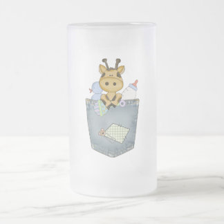 Giraffe pocket pal frosted glass beer mug
