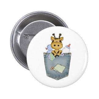 Giraffe pocket pal pinback button
