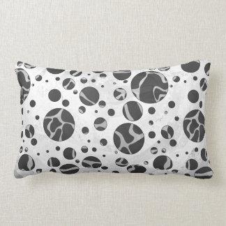 Giraffe Polka Dot Black and Light Gray Print Lumbar Pillow
