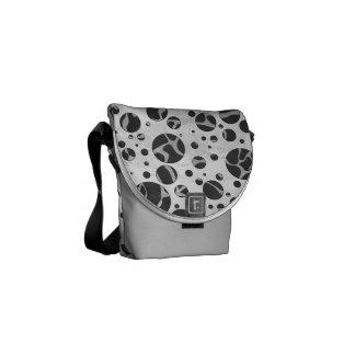 Giraffe Polka Dot Black and Light Gray Print Messenger Bag