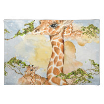Giraffe Portrait Animal Picture Cloth Placemat