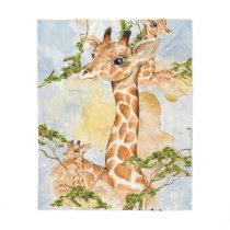 Giraffe Portrait Animal Picture Fleece Blanket