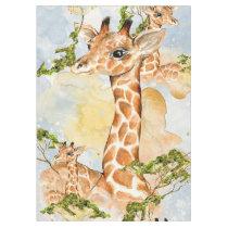 Giraffe Portrait Animal Picture Tablecloth