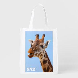 Giraffe Portrait custom monogram reusable bag Reusable Grocery Bags
