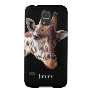 Giraffe Portrait on Black Personalized Name Galaxy S5 Case