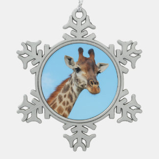 Giraffe portrait snowflake pewter christmas ornament