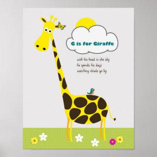 Giraffe Poster for Kids Room, Nursery, Playroom