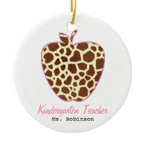 Giraffe Print Apple Kindergarten Teacher Ceramic Ornament