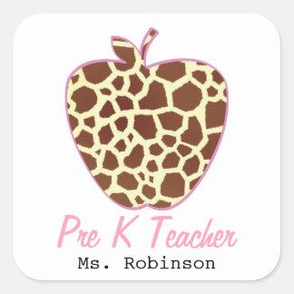 Giraffe Print Apple Pre K Teacher Square Sticker