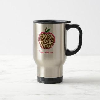 Giraffe Print Apple Teacher 15 Oz Stainless Steel Travel Mug