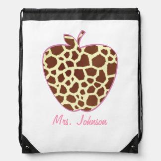 Giraffe Print Apple Teacher Drawstring Backpack