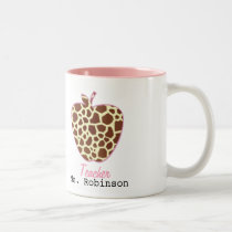 Giraffe Print Apple Teacher Mug