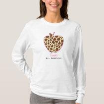 Giraffe Print Apple Teacher Shirt