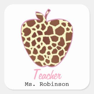 Giraffe Print Apple Teacher Stickers