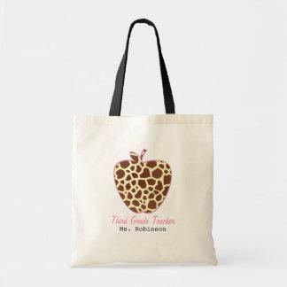 Giraffe Print Apple Third Grade Teacher Tote Bag