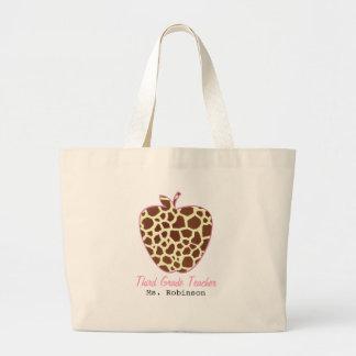 Giraffe Print Apple Third Grade Teacher Canvas Bags