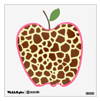 Giraffe Print Apple Wall Decal
