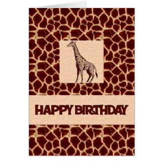 Giraffe Print Birthday Deluxe Greeting Cards
