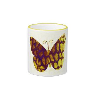 Giraffe Print Butterfly Golden Yellow Ringer Coffee Mug