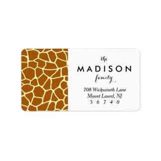 Giraffe Print Classic Brown Yellow Animal Pattern Address Label