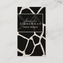 Giraffe Print Designer Business Card :: Black