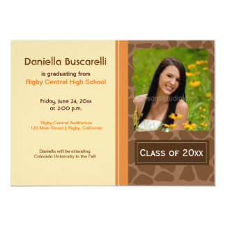 GIRAFFE PRINT GRADUATION ANNOUNCEMENT Orange/Brown