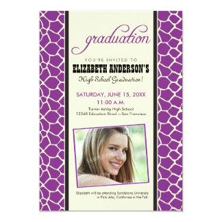 Giraffe Print Graduation Announcement (purple)