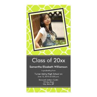 Giraffe Print Graduation Photo Announcement lime Photo Card