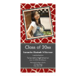 Giraffe Print Graduation Photo Announcement red Picture Card