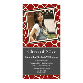 Giraffe Print Graduation Photo Announcement red Photo Card