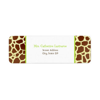 Giraffe Print & Green Address Label Sticker