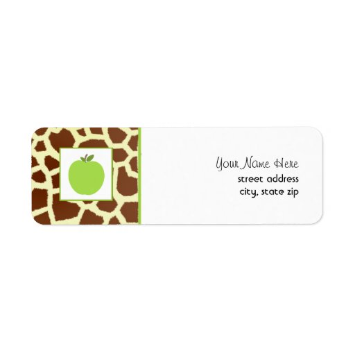 Giraffe Print Green Apple Teacher Custom Return Address Labels