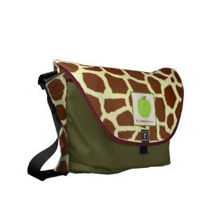 Giraffe Print & Green Apple Teacher Messenger Bag