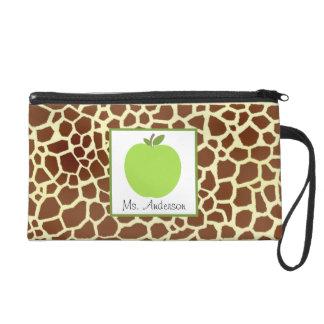Giraffe Print & Green Apple Wristlet For Teachers