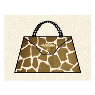 Giraffe Print Handbag Postcard