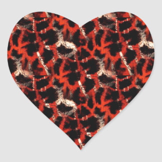 Giraffe Print Heart Sticker
