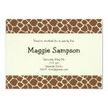 """Giraffe Print Invitation  (#INV 025) 5"""" X 7"""" Invitation Card"""
